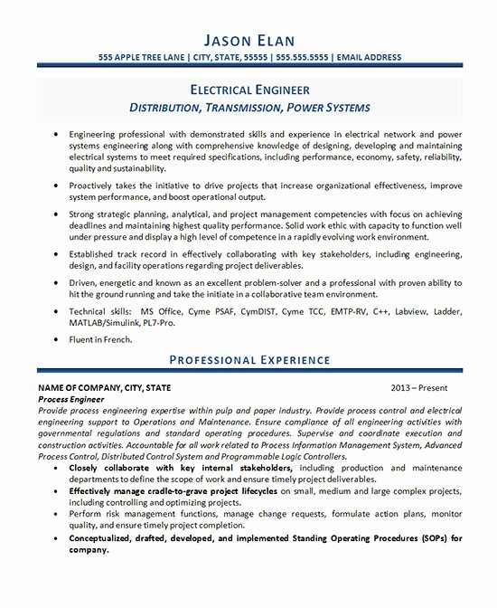 Electrical Engineer Resume Template New Electrical Engineer Resume Example