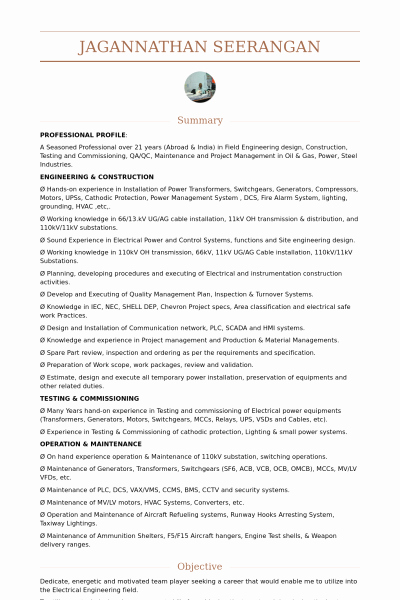 Electrical Engineer Resume Template New Electrical Engineer Resume Samples Visualcv Database