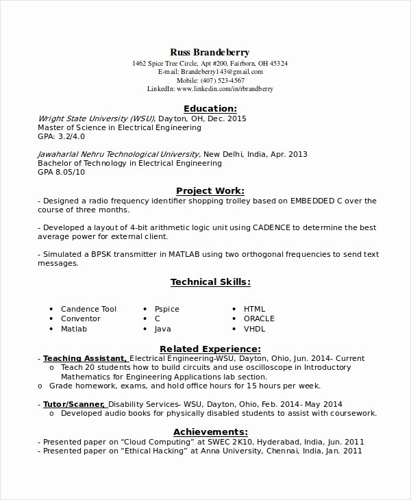 Electrical Engineer Resume Template Unique 9 Entry Level Resume Examples Pdf Doc