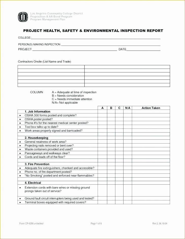 Electrical Inspection Report Template Elegant Excavation Inspection Report form Safety Template Site