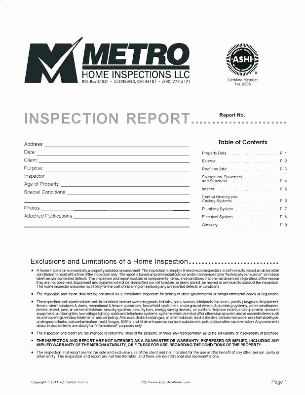 Electrical Inspection Report Template Inspirational Home Inspection form House Checklist Plumbing for
