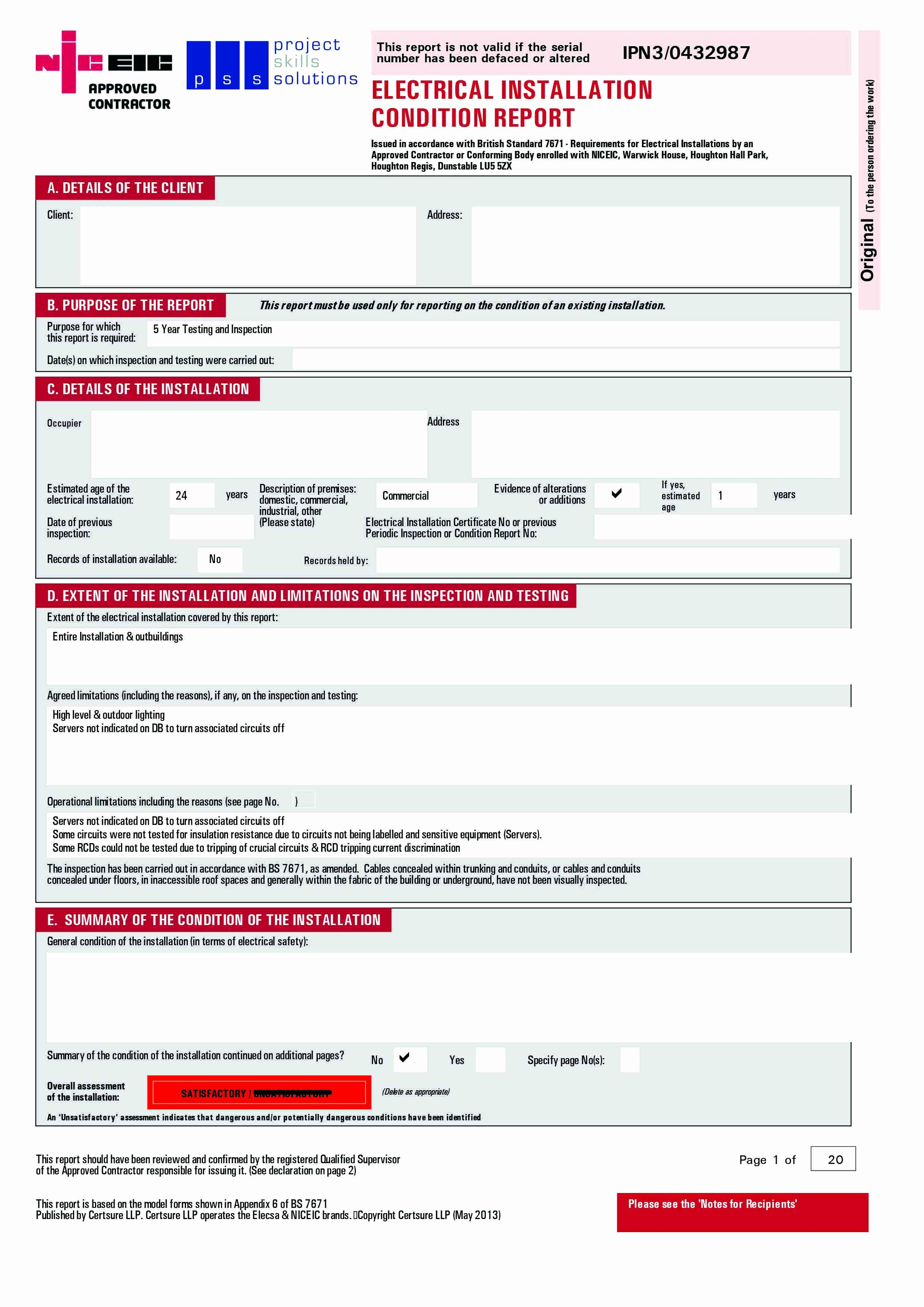 Electrical Inspection Report Template Unique Eicr Electrical Installation Condition Report & Faqs