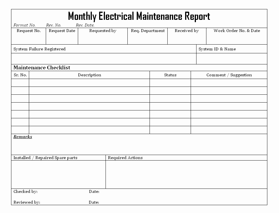 Electrical Inspection Report Template Unique Electrical Maintenance Checklist Template Download