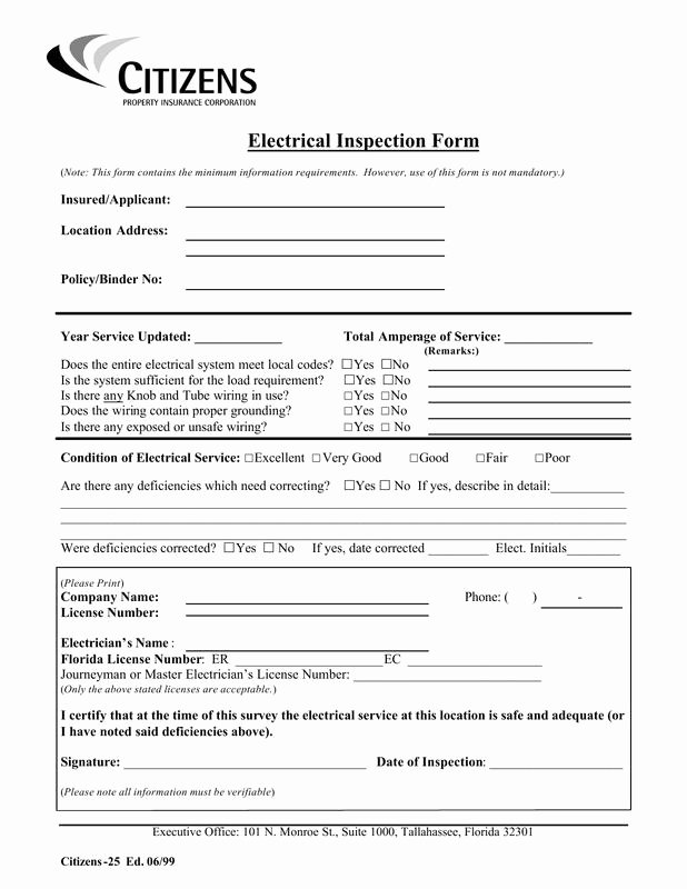 Electrical Inspection Report Template Unique Inspection Checklist for An Electrical Panel Electrical