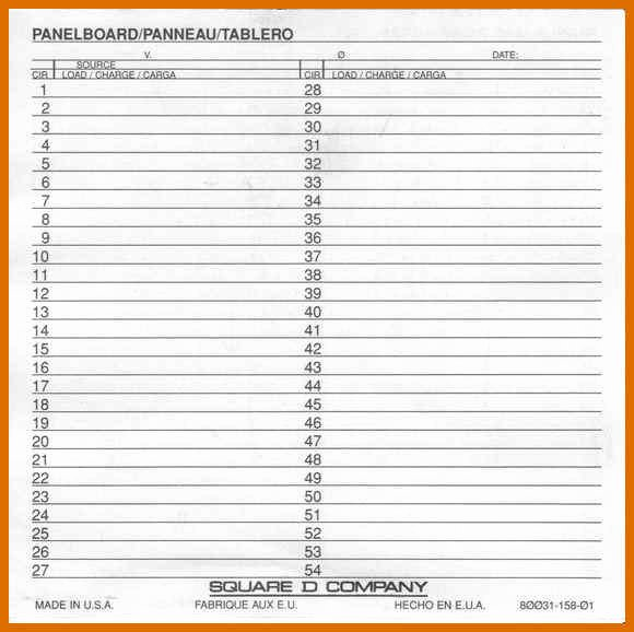 Electrical Panel Schedule Template Inspirational 1 2 Panel Schedule Template