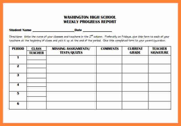 Elementary Progress Report Template Beautiful 5 Weekly Progress Report Template Elementary