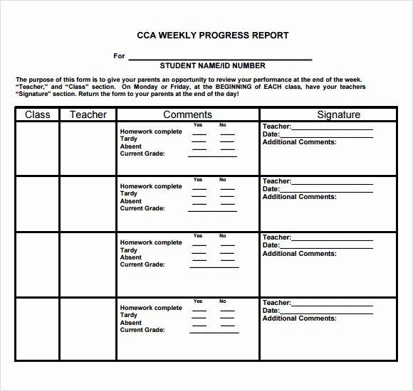 Elementary Progress Report Template Fresh 13 Sample Weekly Progress Reports