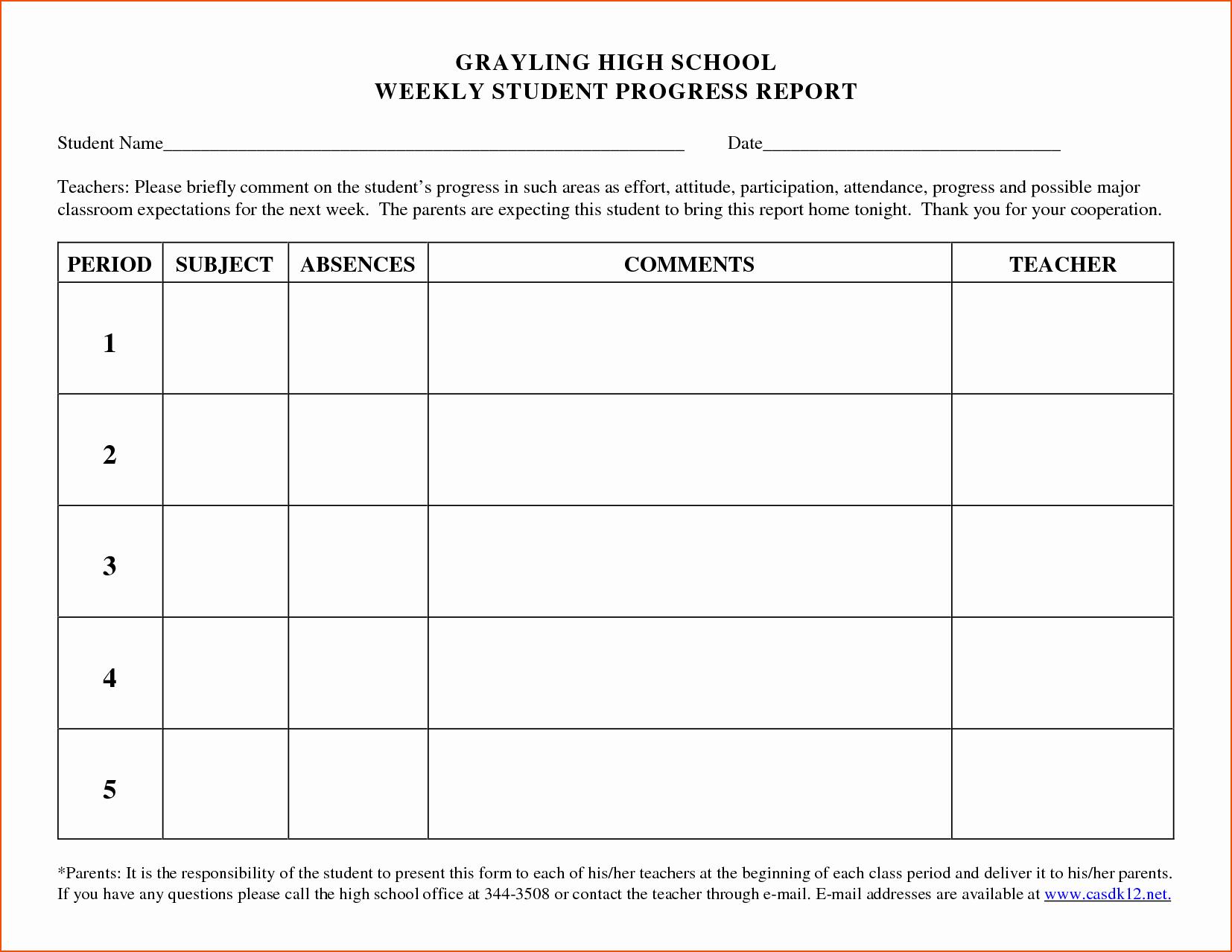 Elementary Progress Report Template Lovely 5 Weekly Progress Report Template Bookletemplate