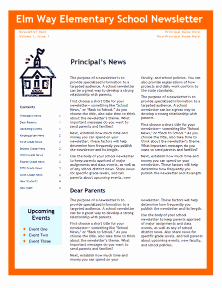 Elementary School Newsletter Template Awesome Elementary School Newsletter Fice Templates