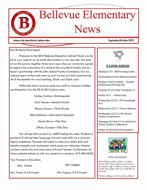 Elementary School Newsletter Template Best Of Elementary School Newsletters Elementary Newsletter Ideas