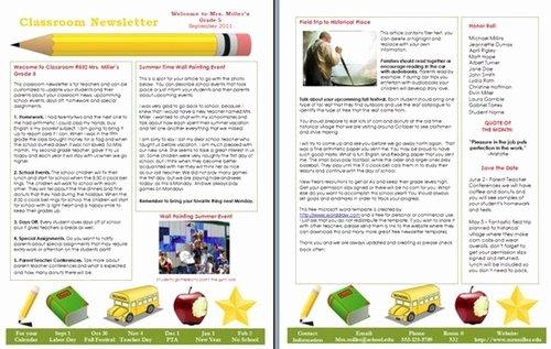Elementary School Newsletter Template Elegant 15 Free Microsoft Word Newsletter Templates for Teachers