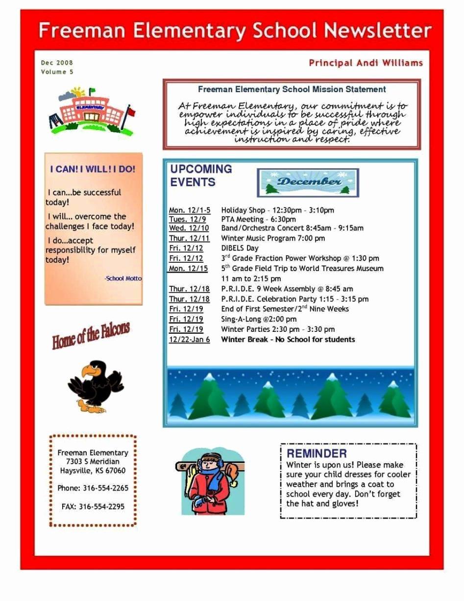 Elementary School Newsletter Template Elegant Elementary School Newsletter Template Sampletemplatess