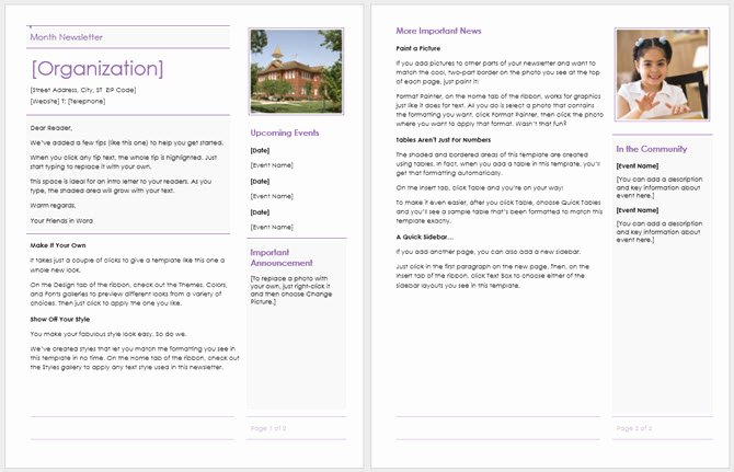Elementary School Newsletter Template Lovely 13 Free Newsletter Templates You Can Print or Email as Pdf
