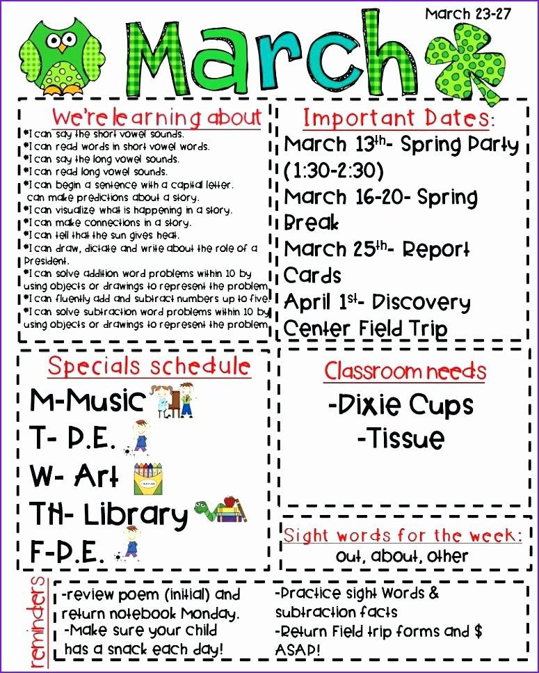 Elementary School Newsletter Template Lovely School Newsletter Examples – Studiorc
