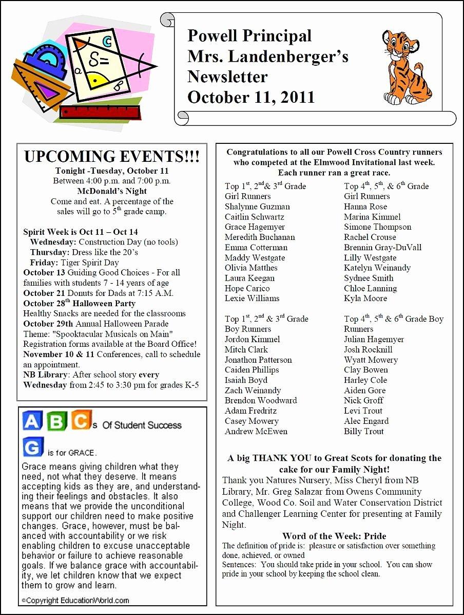 Elementary School Newsletter Template Lovely thenbxpress