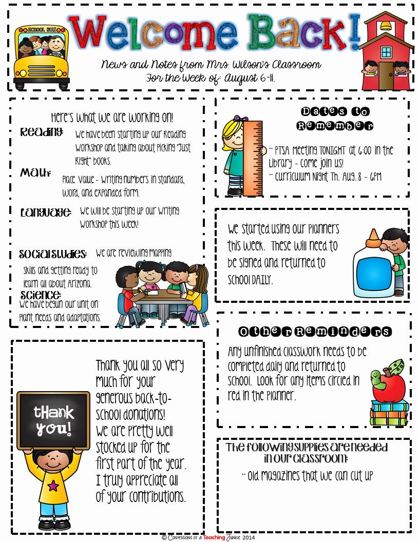 Elementary School Newsletter Template Luxury Seasonal Classroom Newsletter Templates for Busy Teachers