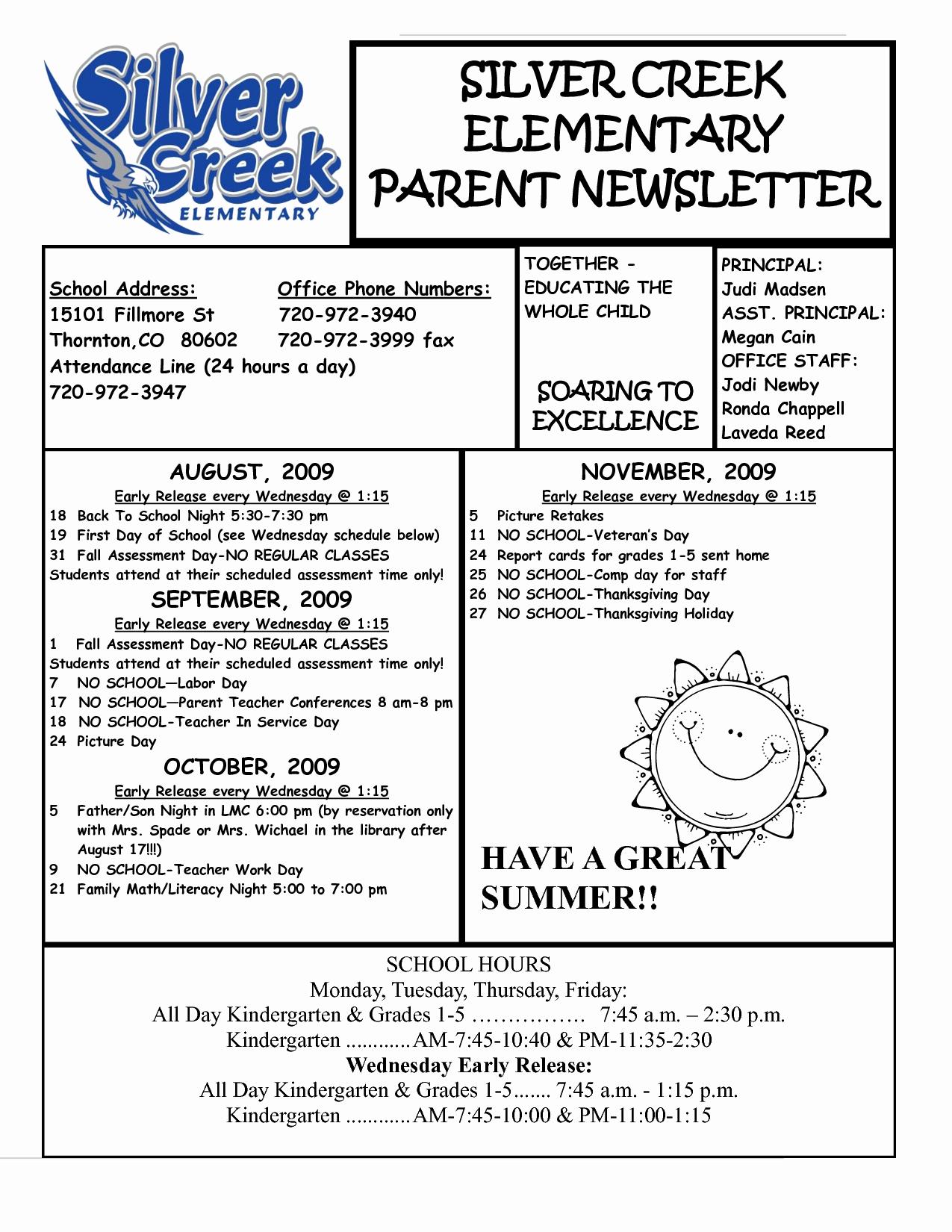 Elementary School Newsletter Template New Best S Of Parent Newsletter Examples Sample Parent