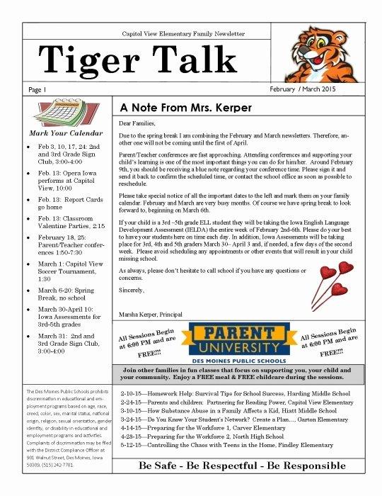 Elementary School Newsletter Template New Des Moines Public Schools Calendar