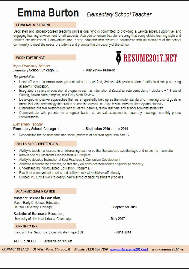 Elementary Teaching Resume Template Beautiful Elementary School Teacher Resume Examples 2017