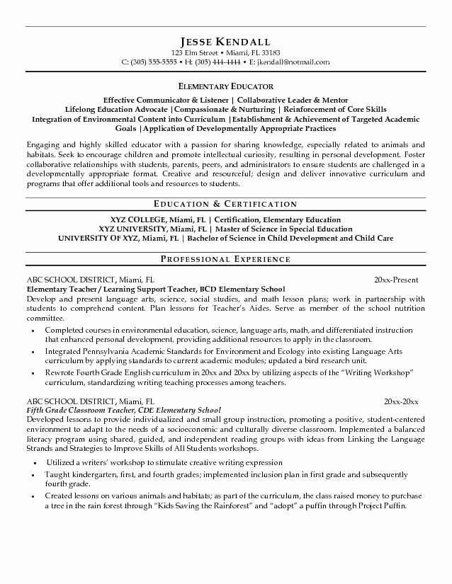 Elementary Teaching Resume Template Best Of 35 Best Teaching Portfolio Ideas Images On Pinterest