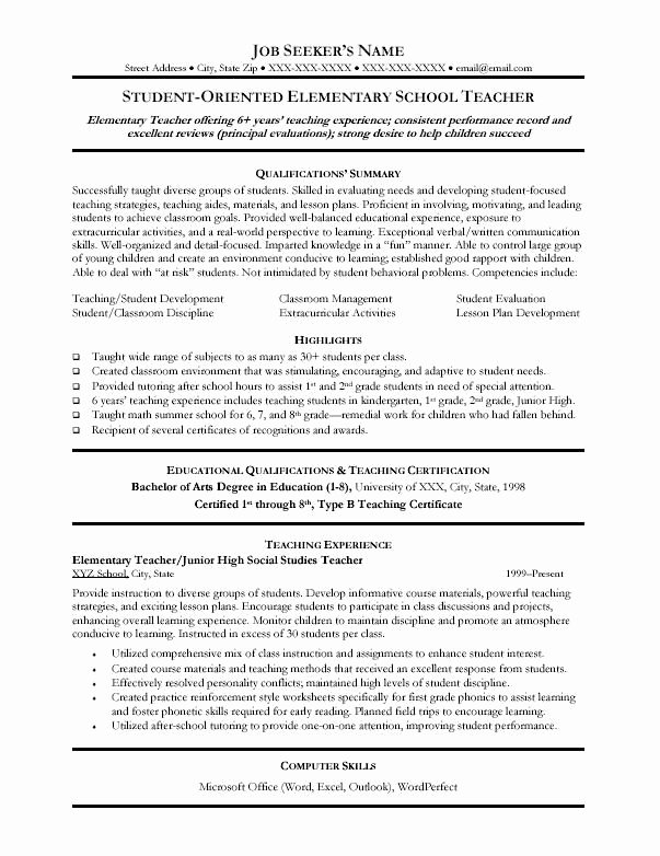 Elementary Teaching Resume Template Best Of 46 Best Teacher Resumes Images On Pinterest