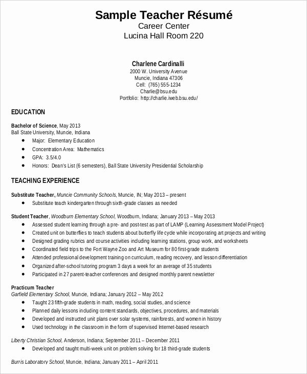 Elementary Teaching Resume Template Elegant Teacher Resume Sample 32 Free Word Pdf Documents