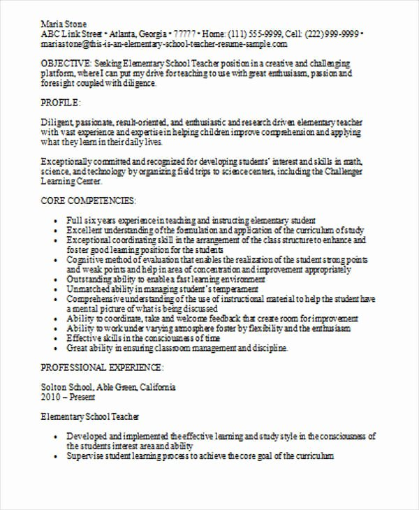 Elementary Teaching Resume Template Fresh 35 Printable Teacher Resume Templates