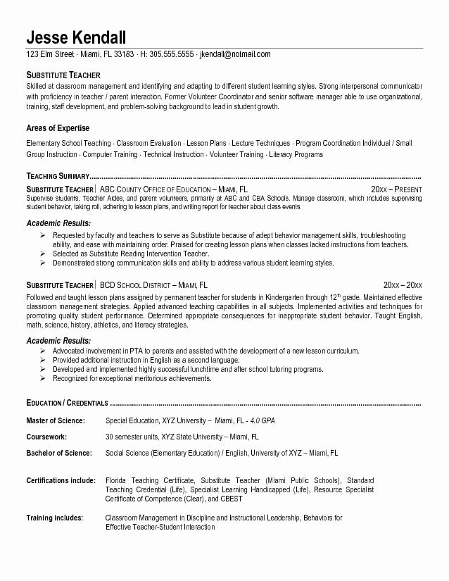 Elementary Teaching Resume Template Fresh First Year Teacher Resume Template Best Resume Collection
