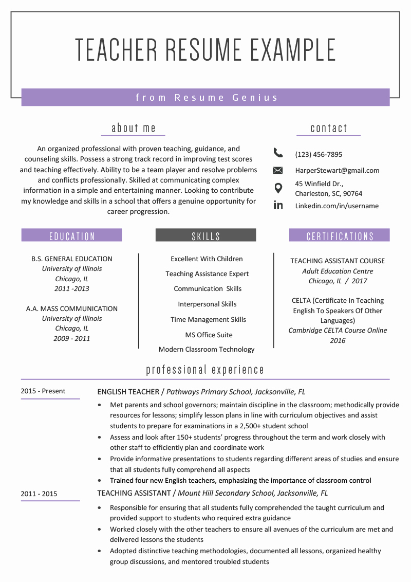 Elementary Teaching Resume Template Fresh Teacher Resume Samples & Writing Guide