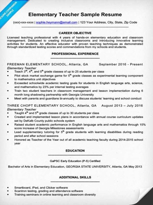 Elementary Teaching Resume Template Inspirational Elementary Teacher Resume Sample & Writing Tips