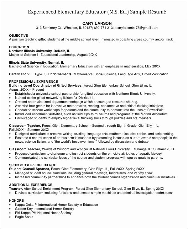 Elementary Teaching Resume Template Luxury 23 Professional Teacher Resume Templates Pdf Doc