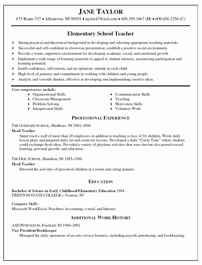 Elementary Teaching Resume Template New Elementary School Teacher Resume Resume
