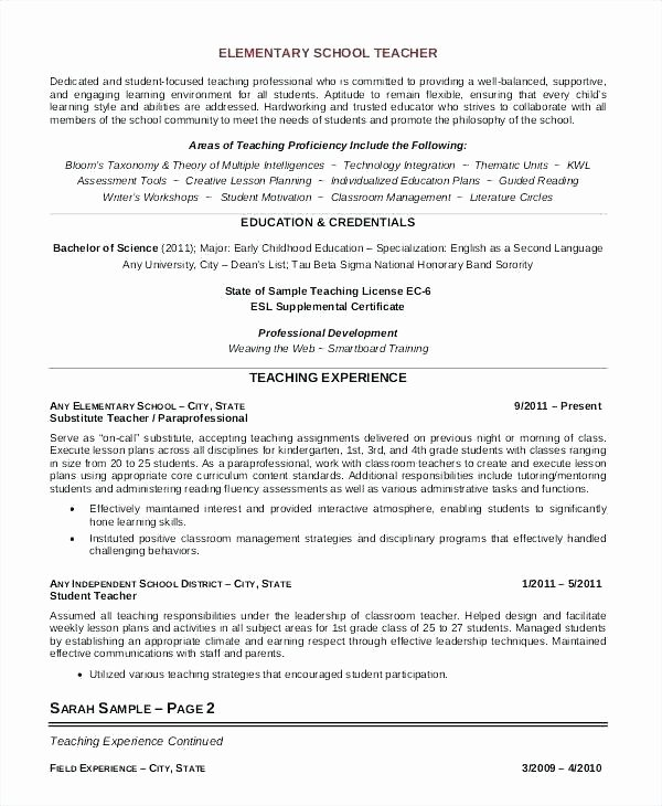Elementary Teaching Resume Template New Elementary Teacher Resume Sample Writing Tips Panion