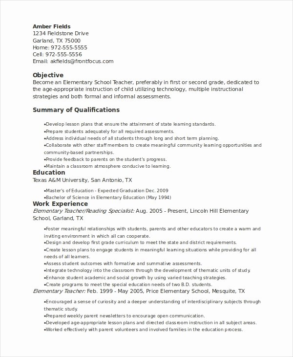 Elementary Teaching Resume Template New Elementary Teacher Resume Template 7 Free Word Pdf
