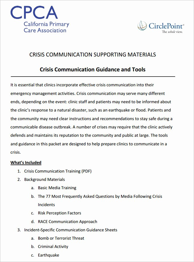 Emergency Communication Plan Template Best Of 3 Crisis Munication Plan Templates Doc Pdf