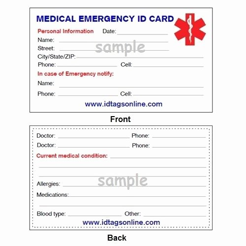 Emergency Contact Card Template Awesome 100 Medical Emergency Wallet Cards for Medical Alert Id