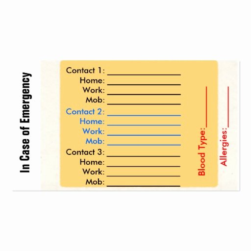 Emergency Contact Card Template Elegant In Case Emergency Business Cards 49 In Case