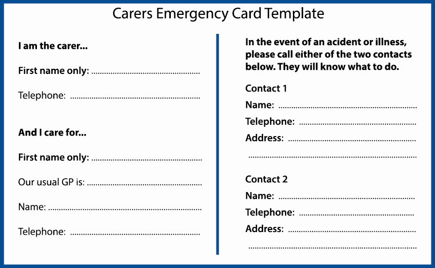 Emergency Contact Card Template Elegant Planning for An Emergency as A Carer