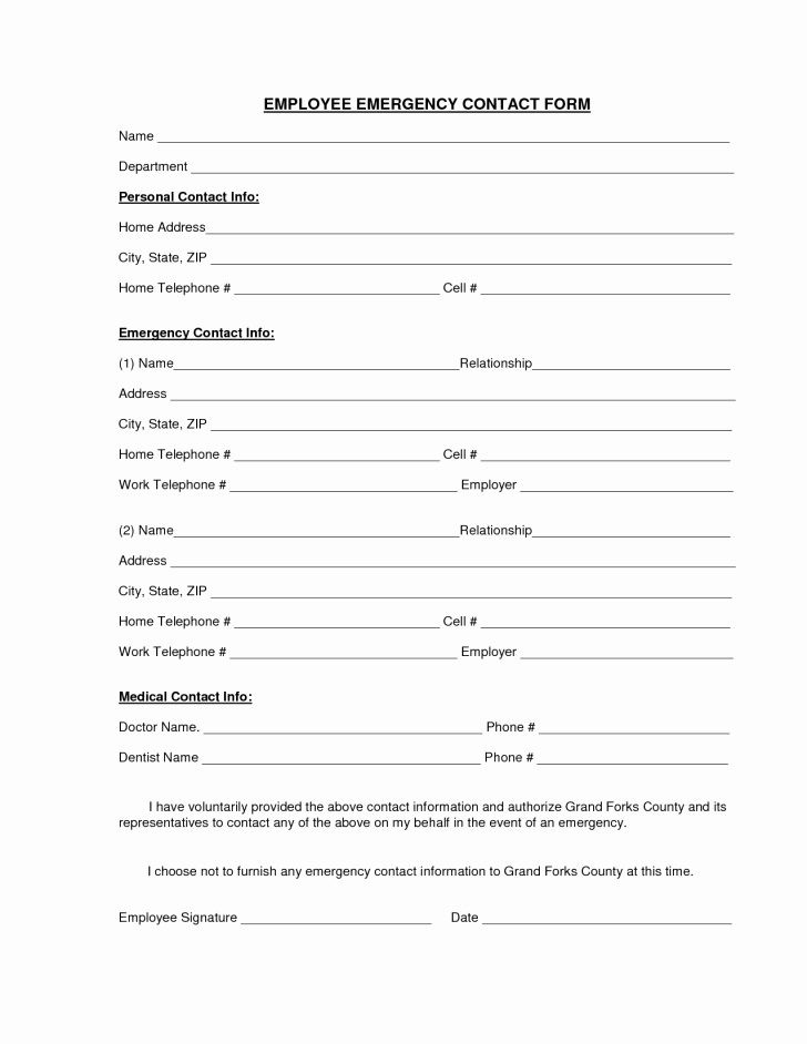 Emergency Contact Card Template Fresh Employee Employee Emergency Contact form