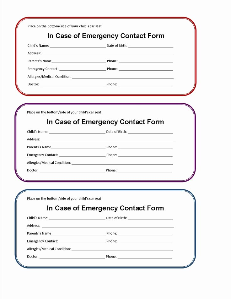 Emergency Contact Card Template Fresh Kids Id Card Template