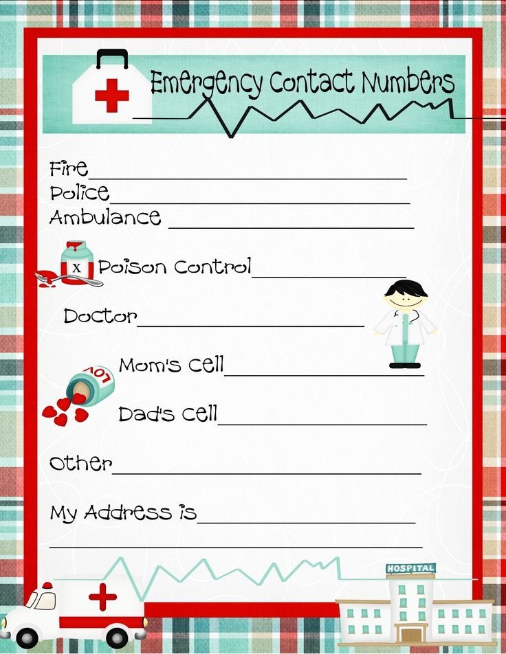Emergency Contact Card Template Lovely Free Emergency Contact Phone Numbers and A Free Printable