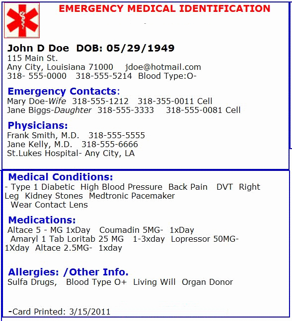 Emergency Contact Card Template Luxury Emergency Medical Card Emergency Preperation