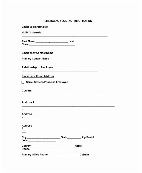 Emergency Contact form Template Awesome 8 Emergency Contact form Samples Examples Templates