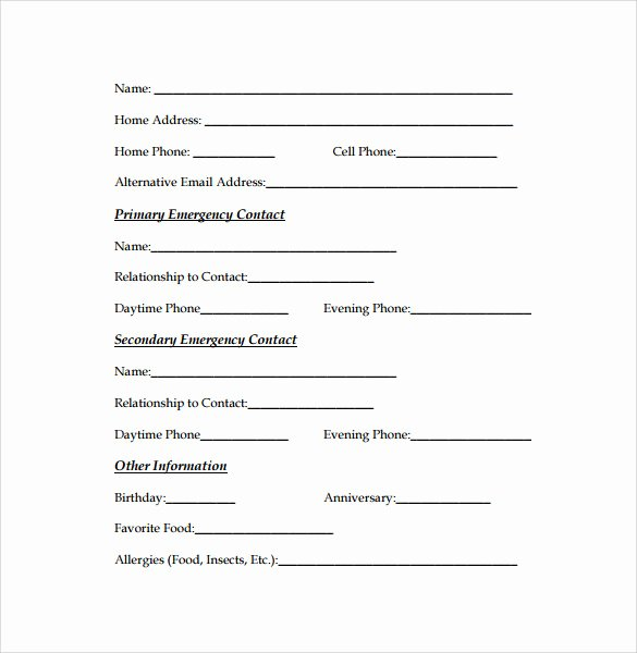 Emergency Contact form Template Beautiful Emergency Contact forms 11 Download Free Documents In