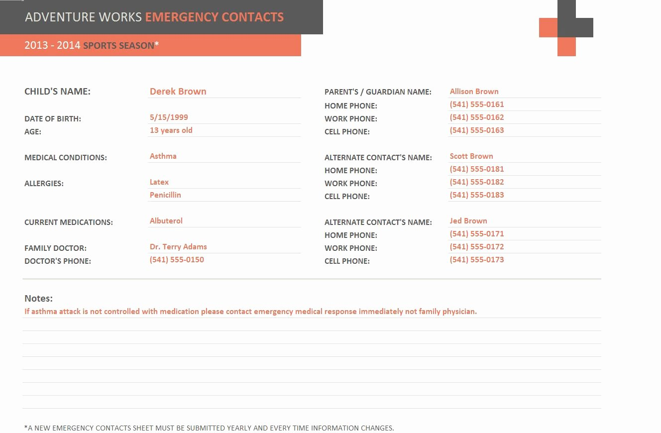 Emergency Contact form Template Best Of Emergency Contact form Template