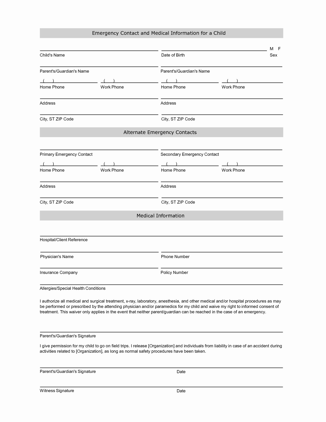 Emergency Contact form Template Best Of Employee Emergency Contact Printable form to Pin