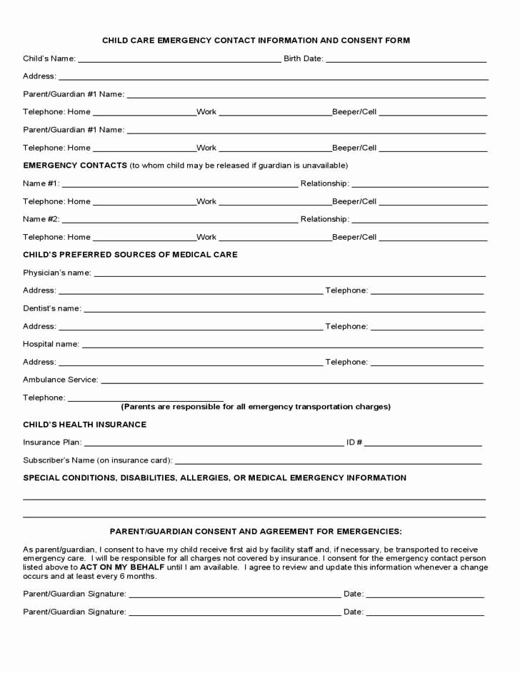 Emergency Contact form Template Elegant 29 Luxury Emergency Contact form Template for Child