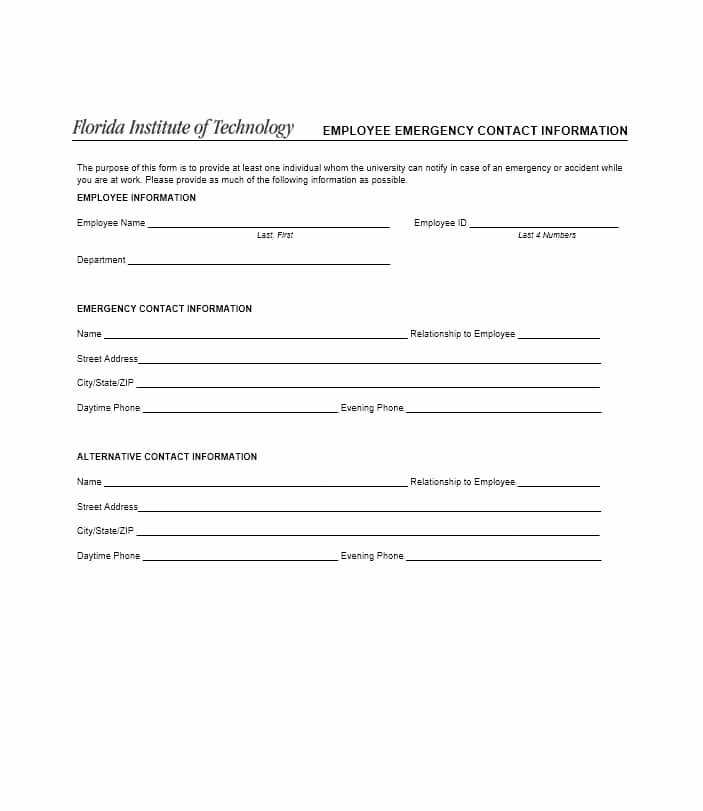 Emergency Contact form Template Elegant 54 Free Emergency Contact forms [employee Student]