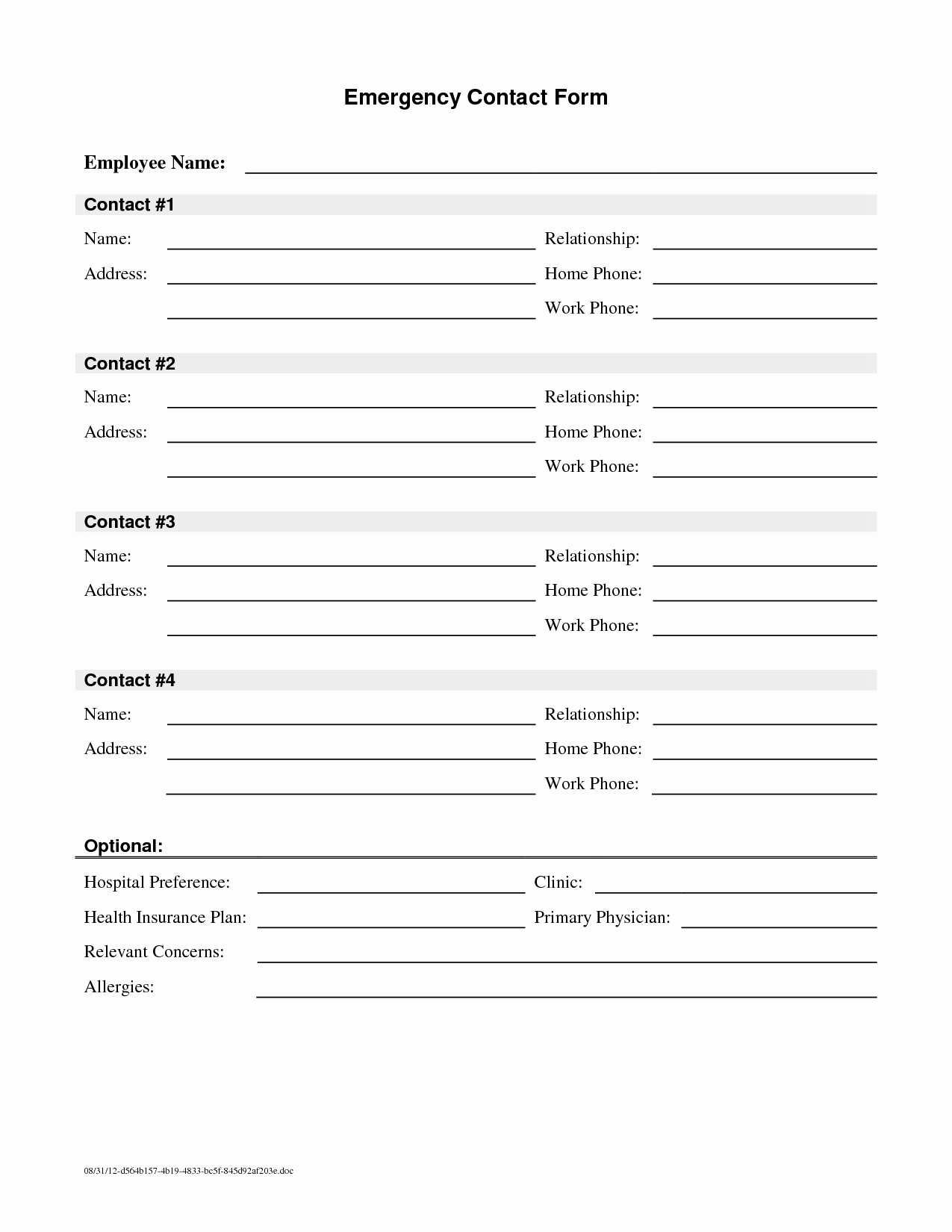 Emergency Contact form Template Elegant Employee Emergency Contact Printable form to Pin