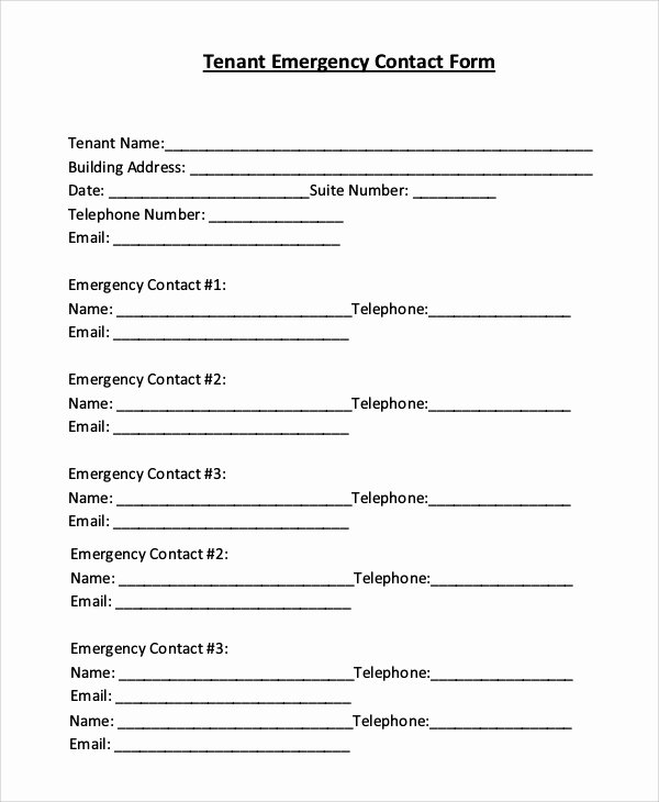 Emergency Contact form Template Inspirational 8 Sample Emergency Contact forms – Pdf Doc